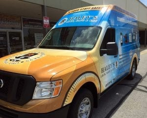 haley's is sure to gain exposure with their custom vehicle wrap by glgraphix lafayette indiana